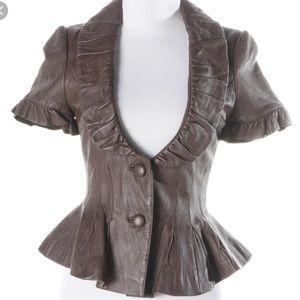 Arden B Peplum Leather jacket